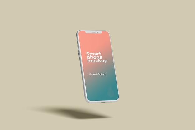 Vue Latérale De Maquette De Smartphone Blanc Volant PSD Premium