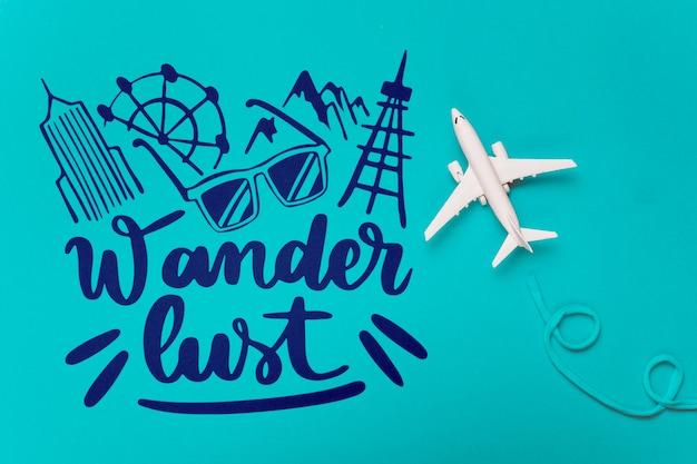 Wander lust, citation de motivation pour le concept de voyage de vacances Psd gratuit