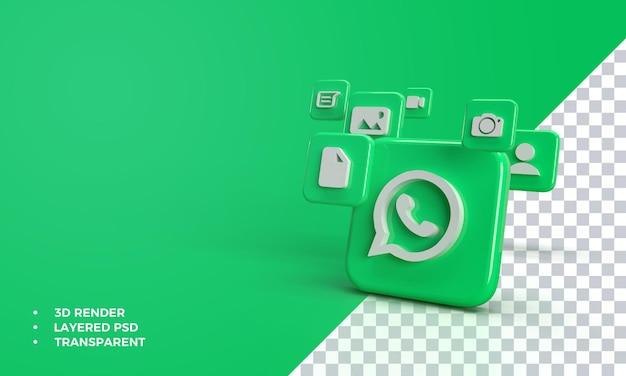 Whatsapp 3d Avec Icône Dans L'application Whatsapp. PSD Premium