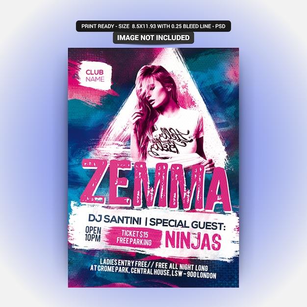 Zemma sexy party flyer PSD Premium