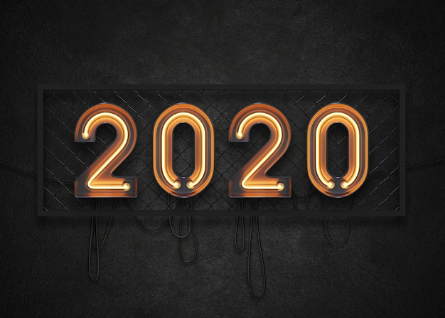 2020 feliz ano novo sinal de néon Psd Premium