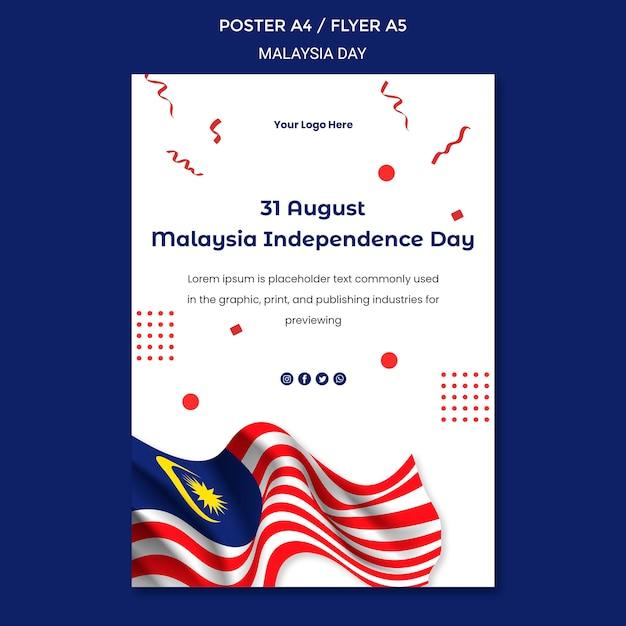 31 de agosto modelo de papelaria panfleto do dia da independência da malásia Psd grátis