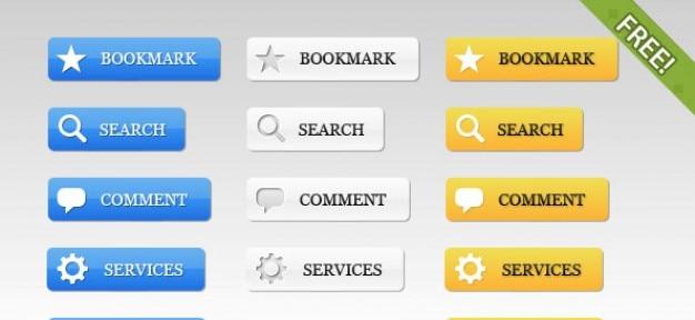 39 botões web free 2.0 Psd grátis
