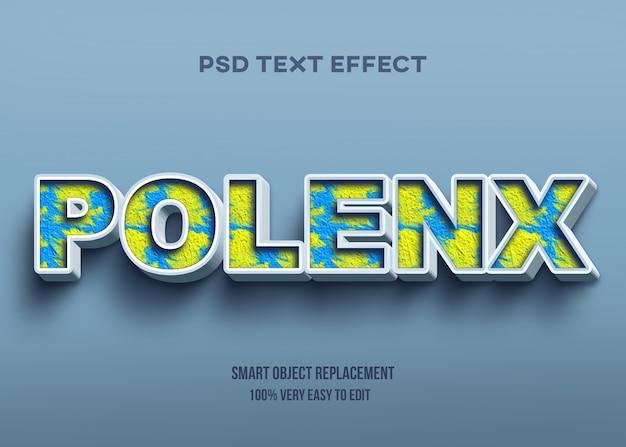 3d abstrato textura efeito de texto amarelo e azul Psd Premium