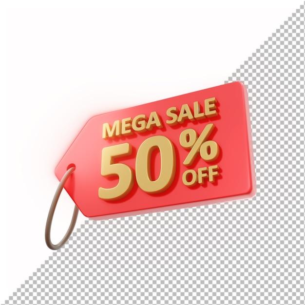 3d badge mega sale 50% off isolado Psd Premium