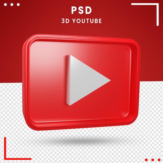 3d girado logo youtube Psd Premium