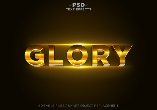 3d glory gold effects template texto Psd Premium