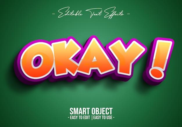 3d-okey-text-style-effect Psd Premium