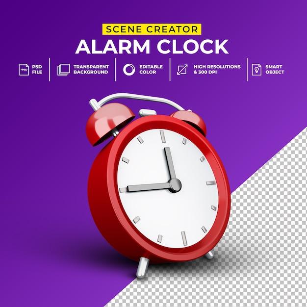 3d render template minimalista alarm clock scene creator Psd Premium