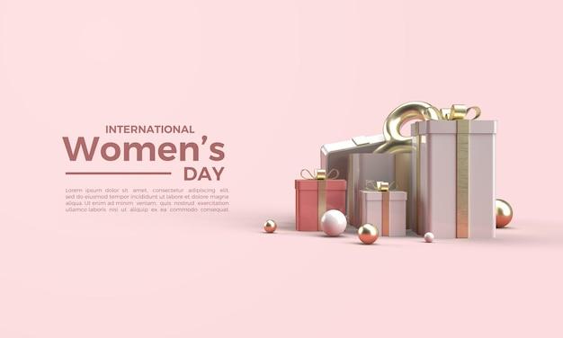 3d renderiza o dia da mulher com uma caixa de presente e um oito Psd Premium