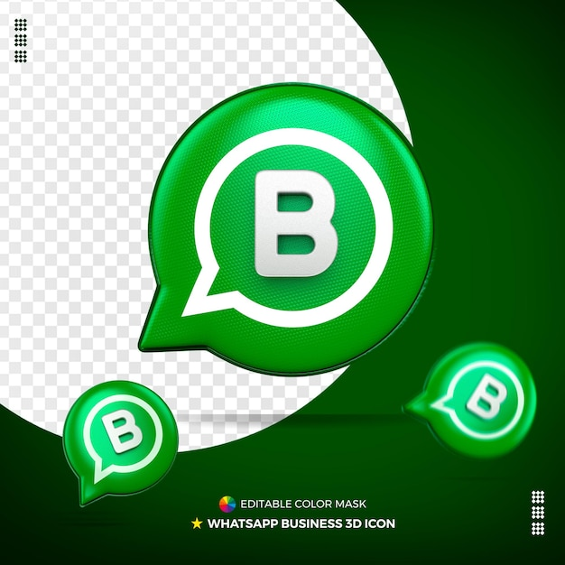3d Whatsapp Business Icon Front Isolated Psd Premium