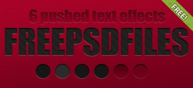 6 grátis empurrado efeitos de texto Psd grátis