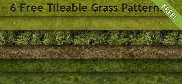 6 grátis tileable patterns grama Psd grátis