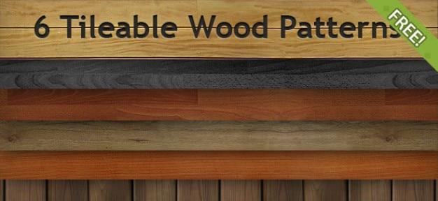 6 grátis tileable patterns madeira Psd grátis