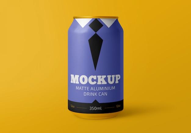 A bebida de alumínio matte 350ml pode maquete Psd Premium