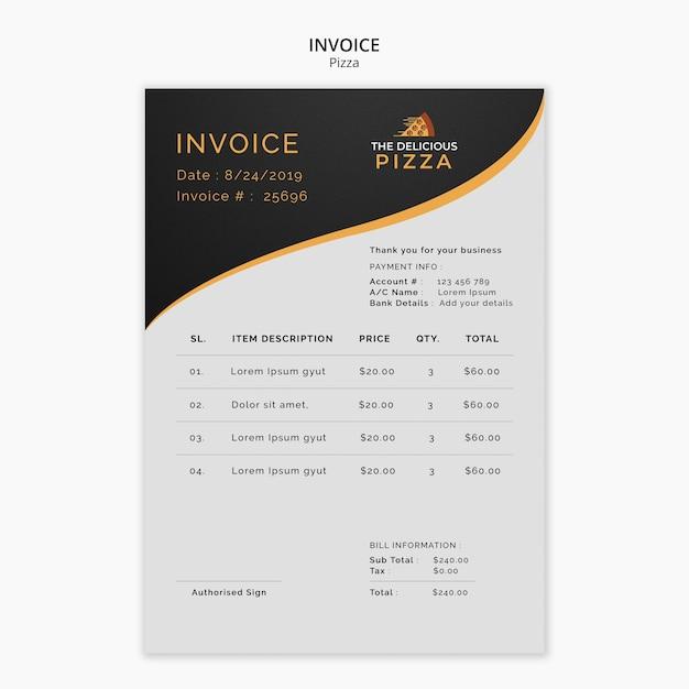 A deliciosa fatura de pizza Psd grátis