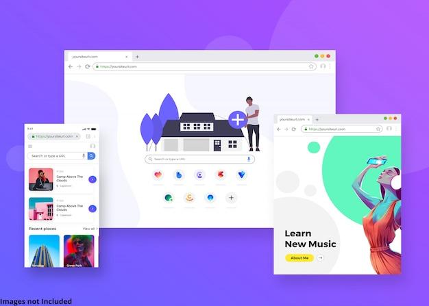 A maquete da página da web do navegador Psd Premium