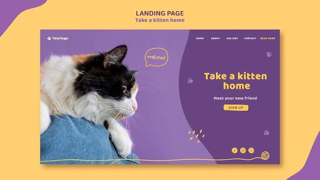 A página de destino adota um modelo de gatinho Psd grátis