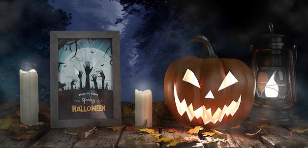 Abóbora assustadora com velas e cartaz de filme de terror Psd grátis