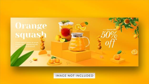 Abóbora laranja bebida menu promoção mídia social modelo de banner de capa do facebook Psd Premium