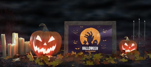 Abóboras assustadoras com poster de filme de terror Psd grátis