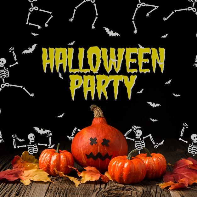 Abóboras de halloween e desenho de esqueleto Psd grátis