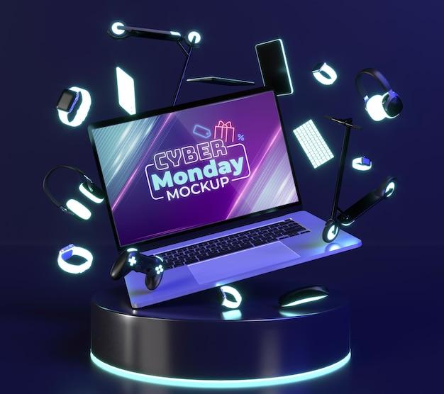 Acordo de venda da cyber monday com maquete de laptop Psd grátis