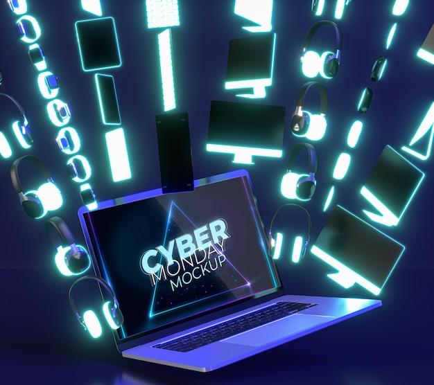 Acordo de venda da cyber monday com novo modelo de laptop Psd grátis