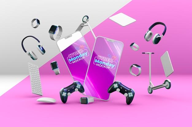 Acordo de venda de cyber monday com maquete de telefones Psd grátis