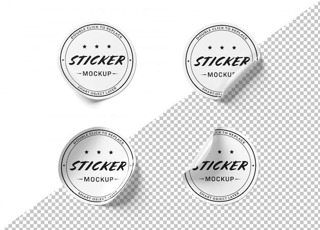 Adesivo circular recortado maquete Psd Premium