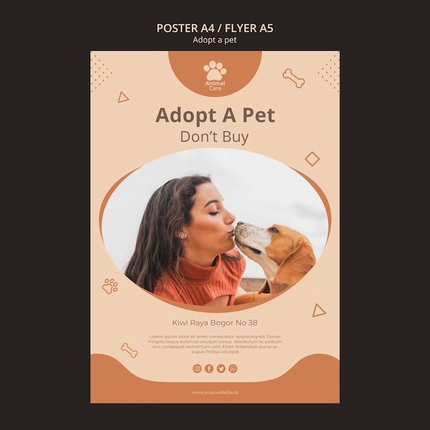 Adote o modelo de cartaz para animais de estimação Psd grátis