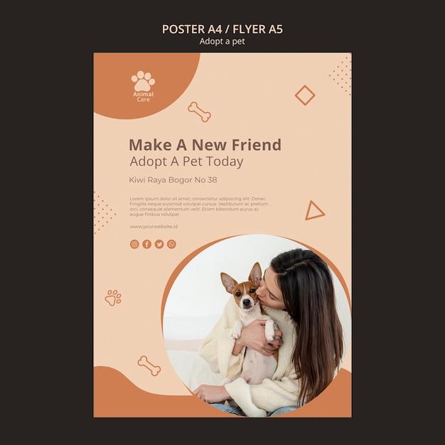 Adote o tema do modelo de cartaz para animais de estimação Psd grátis