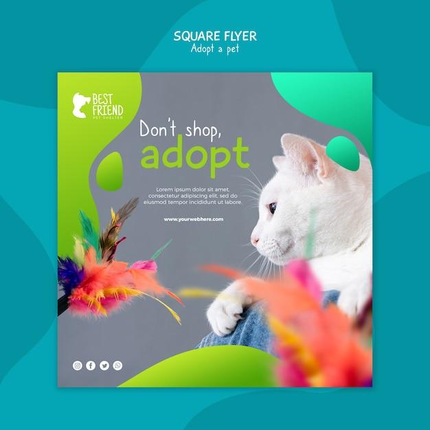 Adote seu panfleto quadrado do gato de estimação Psd grátis