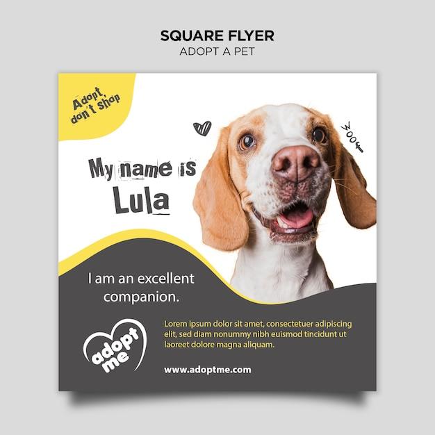 Adote um cão panfleto quadrado Psd grátis