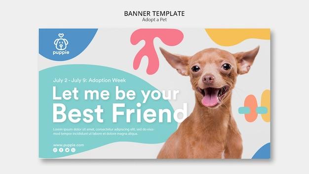 Adote um design de modelo de banner para animais de estimação Psd grátis