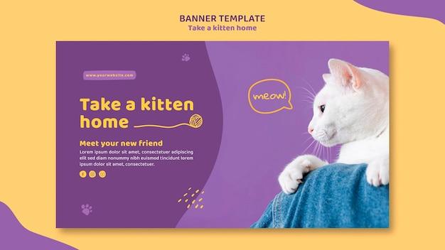 Adote um modelo de banner de gatinho Psd grátis
