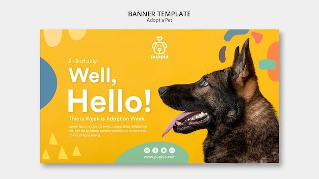 Adote um modelo de banner horizontal para animais de estimação Psd grátis