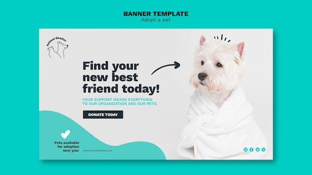 Adote um modelo de banner para animais de estimação Psd grátis