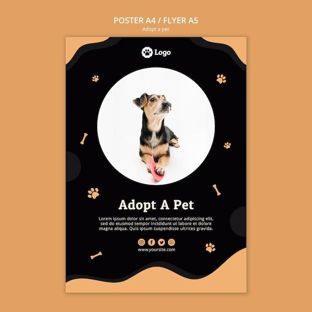 Adote um modelo de cartaz do conceito de animal de estimação Psd grátis