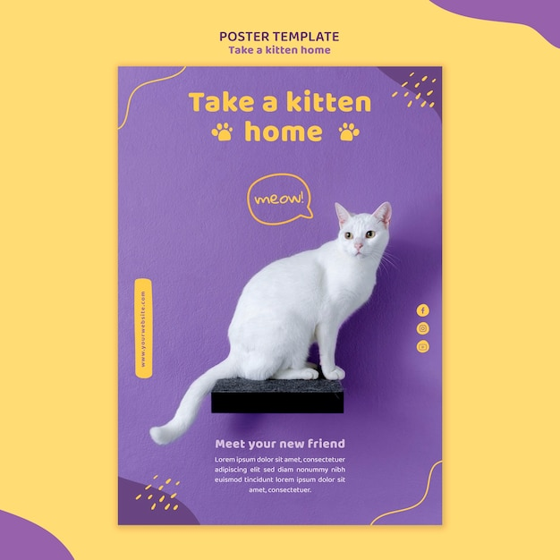 Adote um modelo de folheto de gatinho Psd grátis