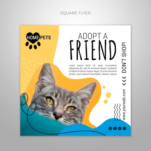 Adote um modelo de folheto quadrado de estimação com foto de gato Psd grátis