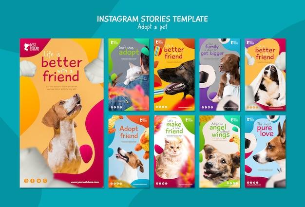 Adote um modelo de histórias do instagram para animais de estimação Psd grátis