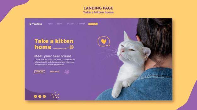 Adote um modelo de página de destino de gatinho Psd Premium