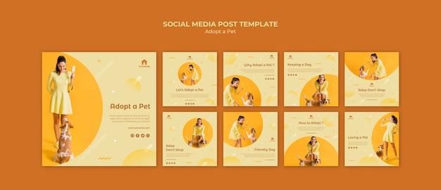 Adote um modelo de postagem de mídia social para cães Psd grátis