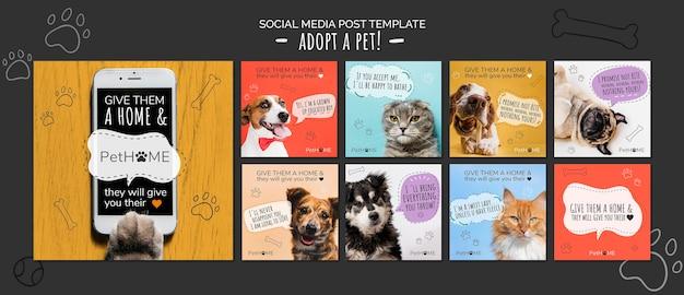 Adote um modelo de postagens de mídia social de um amigo Psd grátis