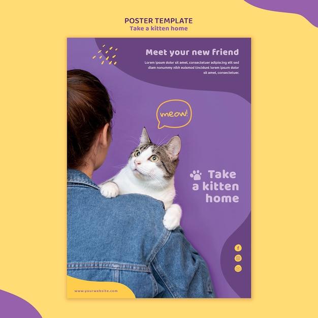 Adote um pôster modelo de gatinho Psd grátis