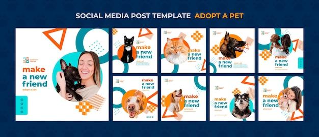 Adote uma publicação de mídia social para animais de estimação Psd grátis