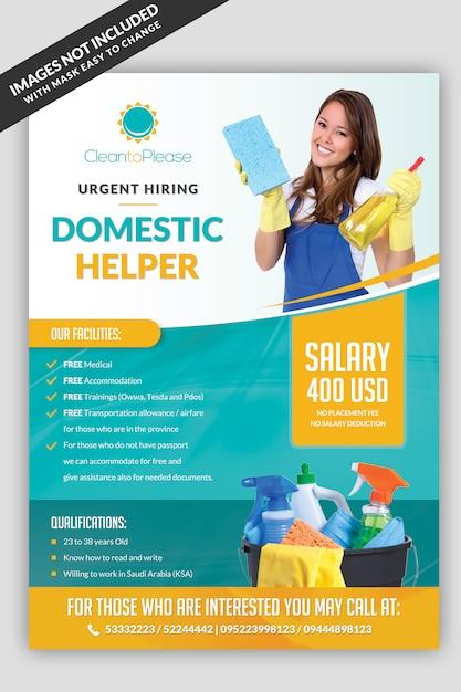 Ajudante de contratação maid flyer Psd Premium