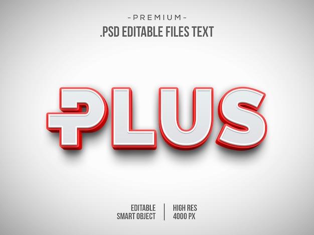 Além disso, efeito de texto 3d, efeito de estilo de texto vermelho branco 3d Psd Premium