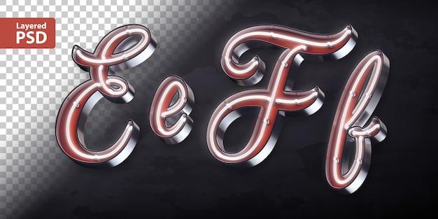 Alfabeto 3d com forma de néon brilhante Psd Premium